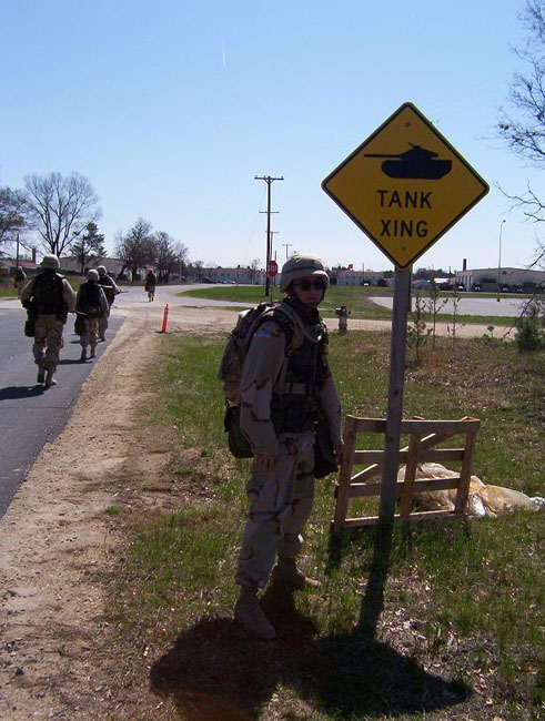 Iraq War Photo. During one of our 15 mile road marches, we came along this sign a few times but never came across an actual tank crossing.