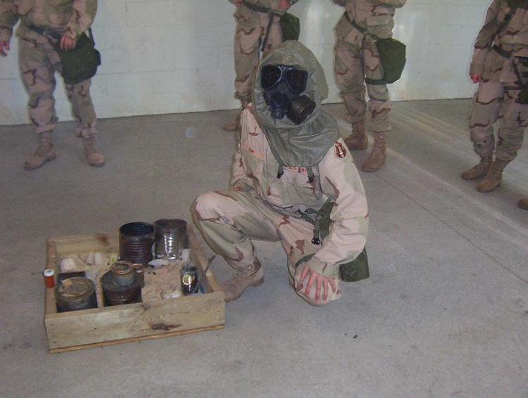 Iraq War Photo. At the gas chamber. People ask, what is the purpose of doing this? Well, it's to let you know that even when you can't see the chemical agent (as is the case here, tear gas with no smoke), you still need the gas mask. It helps you trust your gas mask, that it will function when the time comes to use it. And yes, they do work quite well.