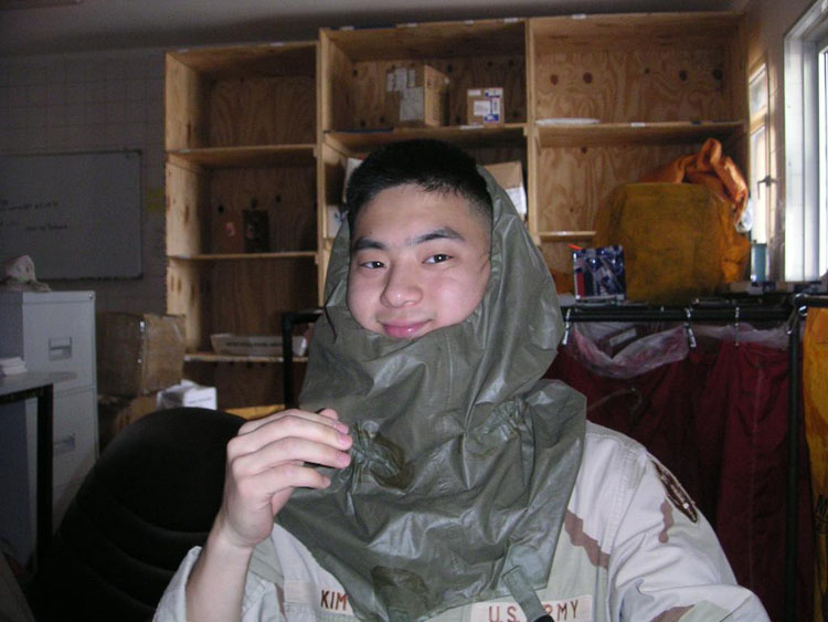 Iraq War Photo. Can you tell where that piece of cloth is from? It's the cover for the gas mask.