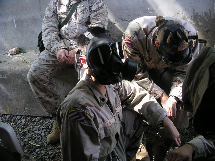 Iraq War Photo. We rarely held gas drills, but when we did, it was always an intense time.