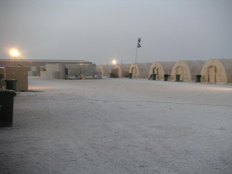 Iraq War Photo. Qatar. You can see how boring this camp could be. But outside, it's paradise. Here, the wind really picked up and it was pretty cold.