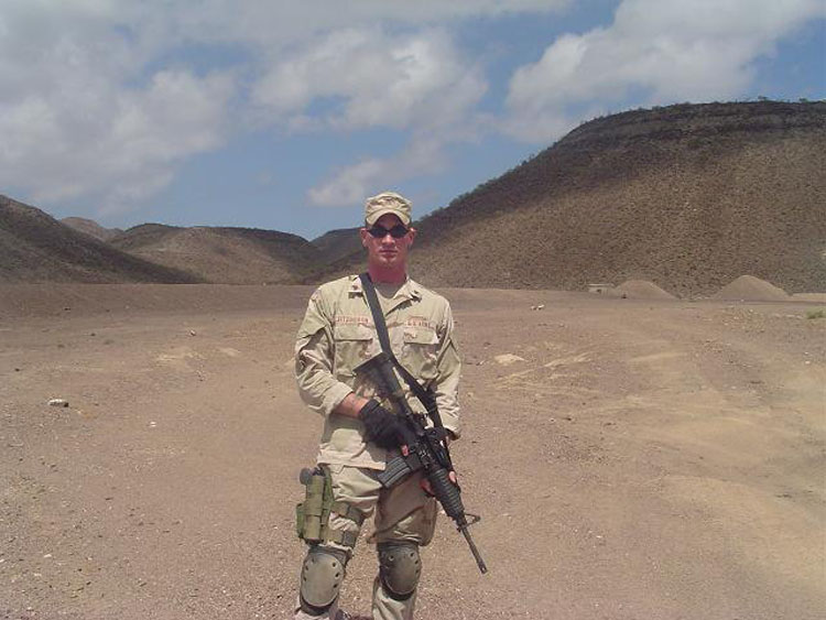 Iraq War Photo. People ask, well, what were you doing in Djibouti? Well, besides the postal operation, there's a ton of things we were asked to do. Everyone's a soldier first, and here's Fitz, out on the range with a Special Forces First Sergeant, with an M4.