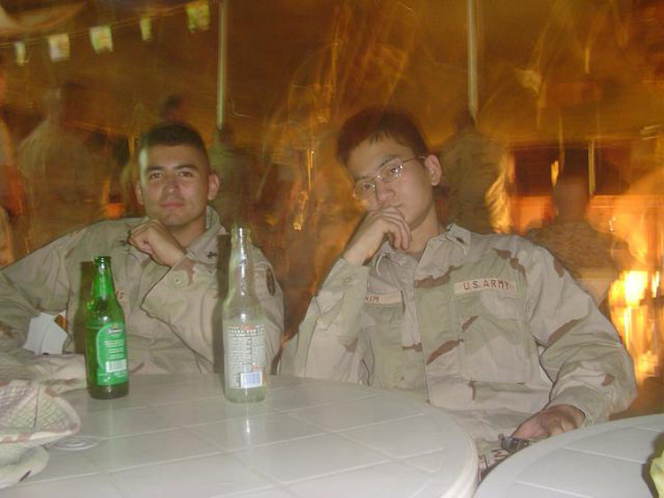 Iraq War Photo. Camp Lemonier had a great Cantina. Most nights they sold beer for a buck. Contreras and I are chilling at what would be our home for another 4 months.