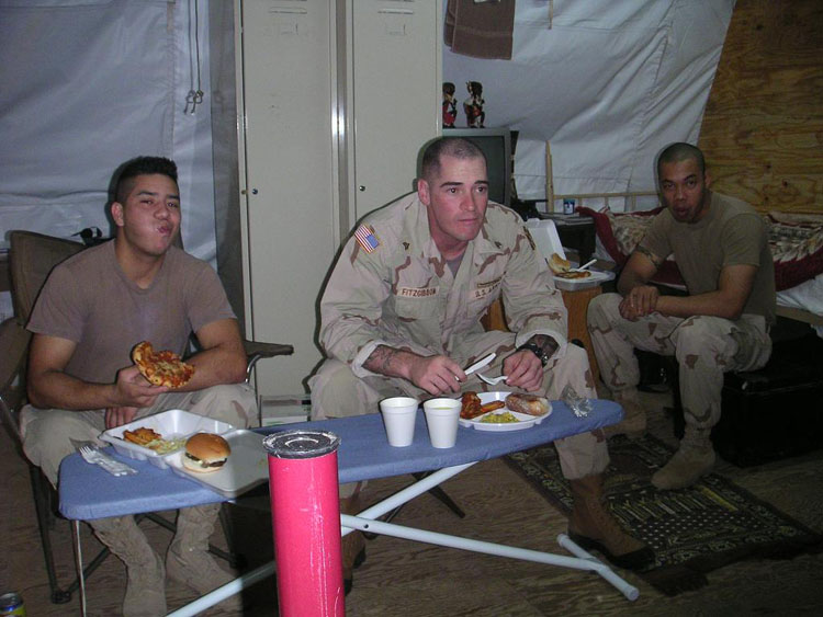 Iraq War Photo. This is how we ate, most of the time. Creativity at its best.