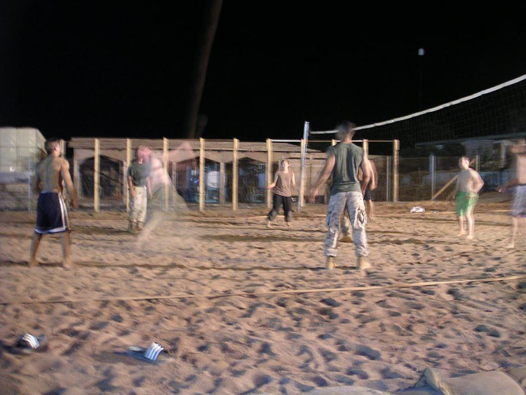 Iraq War Photo. At midnight, we would start off slow and small, but by the end of the 2nd hour, we would have well over 20 guys playing in one field, and many more watching the show. We became so rowdy at one point that the Quarterdeck CDO had to come down and give us a warning, and afterwards break it up. I went to sleep after the warning, but apparently some people got in trouble for it. For a couple days, the cantina served nothing but sodas.