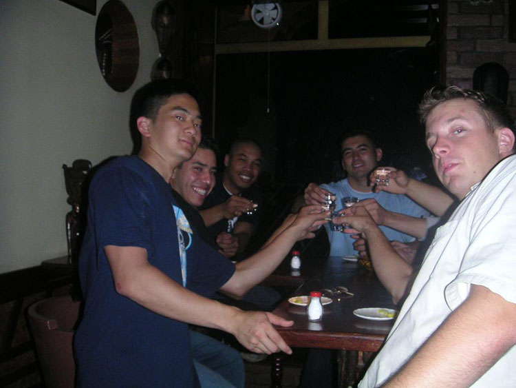 Iraq War Photo. Some of us look especially happy, after finding out we're going back home soon. This would be the last time we would go out drinking as a platoon.