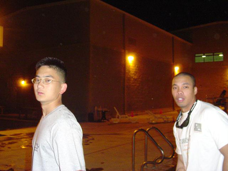 Iraq War Photo. Me and Roberson, walking out at closing time.