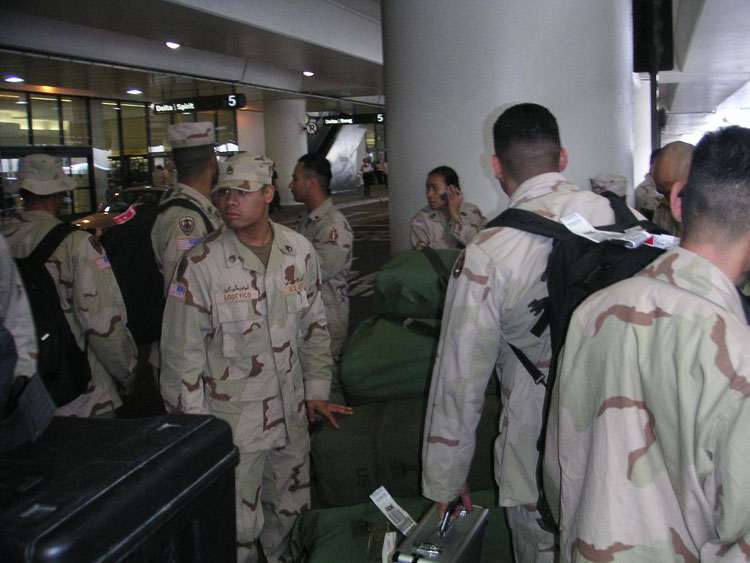 Iraq War Photo. As with any military operation, there's a lot of waiting. Here, we are waiting outside of LAX, awaiting our bus.