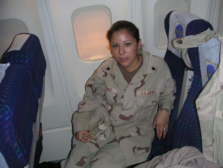 Iraq War Photo. Specialist Perez, Mayra. 19. Promoted twice. Kuwait, Djibouti, and Kenya. Never fired at. Original member. She resides in Southern California, along with her husband to be, a soldier from Utah we met in Kuwait. She is a mother of one.