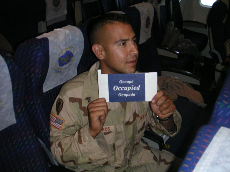 Iraq War Photo. Sergeant Ontiveros, Abraham. 28. Promoted once. Kuwait and Iraq. Fired at and mortared at in Iraq. Original member. I feel as though I want to say a lot about this man... he was by far the smartest man in the platoon. Some people thought I was the smartest one. Perhaps I was a bit better educated, but this man had the raw skills and was more perfectly rounded at everything. Quick on his feet, great personal skills, excellent analytical skills. He always got us the equipment we needed, going beyond his own responsibilities. He would single handedly design a Brigade Headquarters Facility for Camp Arifjan, Kuwait and would later help build it. He was an avid smoker, but always ran faster than me (I ran 2miles in ~13 minutes 40 seconds). He would be awarded a Bronze Star for Service. He recently returned after having attended Warrant Officer School and now flies Black Hawk Helicopters for the Southern California National Guard as a Chief Warrant Officer 1.