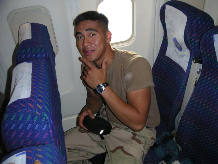 Iraq War Photo. Sergeant Urmanita, Giovanni. 27. Promoted twice. Kuwait and Iraq. Mortared at in Iraq. Original member. He didn't say much, but when he did, it was always ironic and funny. He was the best dancer of the platoon. Being the only other Asian dude in the platoon, I would fake my age using his ID. He was a hospital attendant back home in Southern California, but has volunteered to be deployed again after having difficulty managing financial hardships upon his return. He left behind his wife and a kid.