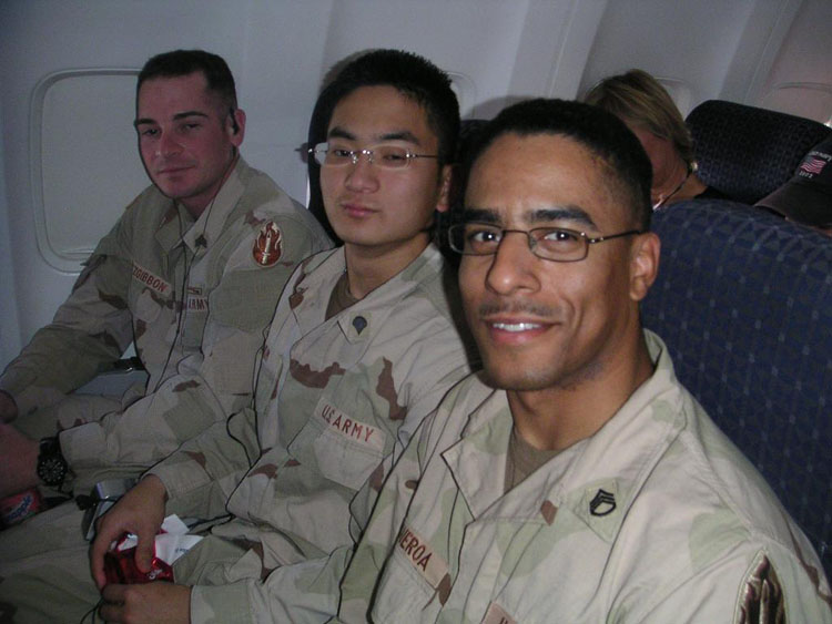 Iraq War Photo. Specialist Kim, Elliott SungChul. 20. Never promoted. Kuwait, Djibouti Kenya. Original member, then transferred to 368th MI Bn, and augmented back for the war. I am pictured here lucky enough to be flanked by my two favorite Sergeants. I would transfer into UC Berkeley a year later, and will work at IBM in New York starting September 07. My hope is to work for about 4 years before applying to Harvard MBA school, and later utilize the saved capital and established networks in pursuing philanthropy.