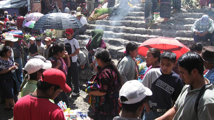 Drive to Guatemala Photo. Chichicastenango.  I doubt I will ever run into a more fascinating market city.  Congested as hell, here is the view from the bottom of a Church.  There was some crazy incense burning in the middle of it.