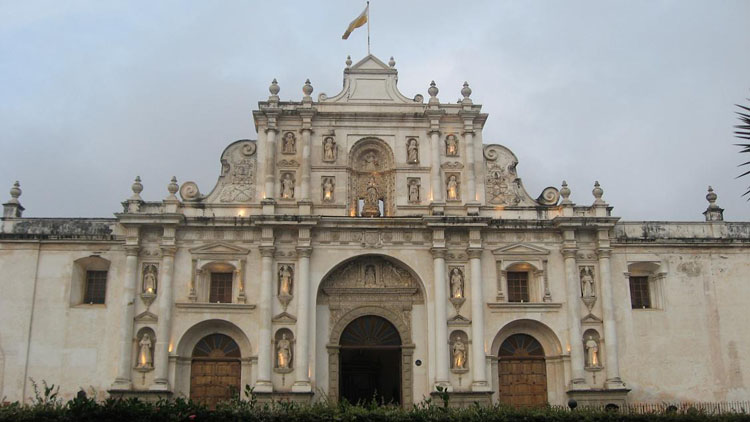 Drive to Guatemala Photo. THE Cathedral.  That's what the name of it is according to my book, anyway.  They seem to have THE cathedrals in every major city, including one in Oaxaca, Mexico.  But the designs and the colors are especially different...