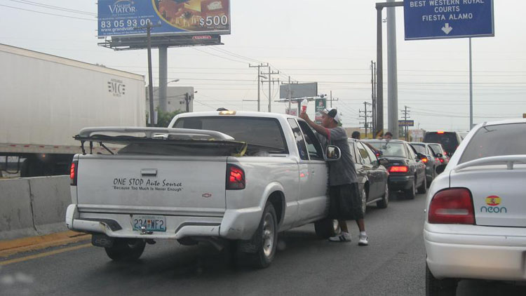Drive to Mexico Photo. Monterrey, Mexico.  They try to wash your windshield with water bottles for money, just like in Los Angeles.  Made me feel right at home.  When they sprayed their water on mine I turned my wipers on and they moved on.