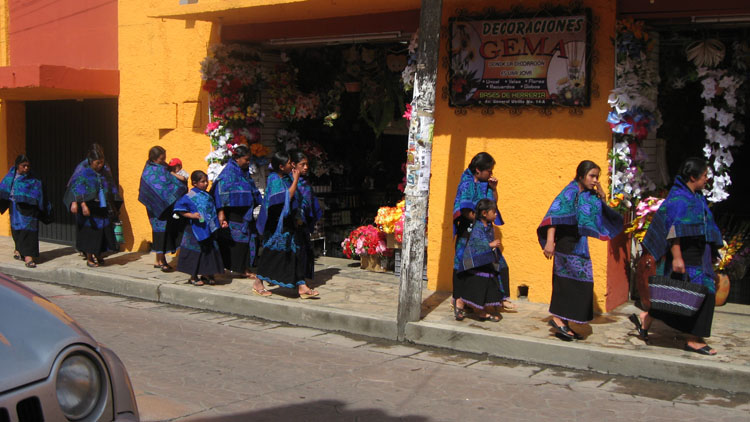 Drive to Mexico Photo. San Cristobal.  I really like the ponchos of these indigenous people here.