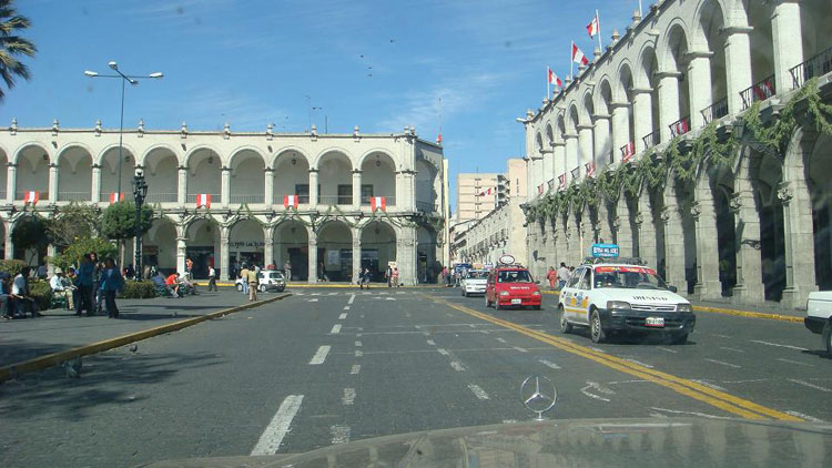 Drive to South America Photo. Arequipa, Peru was the first place I had ever driven on the wrong side of the road. It's pretty much in place to keep the traffic 'circle' around the Plaza de Armas square intact.