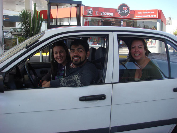 "Drive to South America Photo. ""Today started out fun enough. I filled up the tank before heading out, and while waiting to pay with my credit card, a guy behind me asks in English, ""You drove here from California?"" I meet David. He's a former Marine Corporal in Infantry who went to Iraq 3 times, 7 months at a time. He's from Orange, California. What are the chances? He was at Arequipa visiting friends and was leaving back for California on the 1st. He said he would have made the drive with me if he knew someone was making the drive. He's contemplating on going back into the Marines. He's 22."""