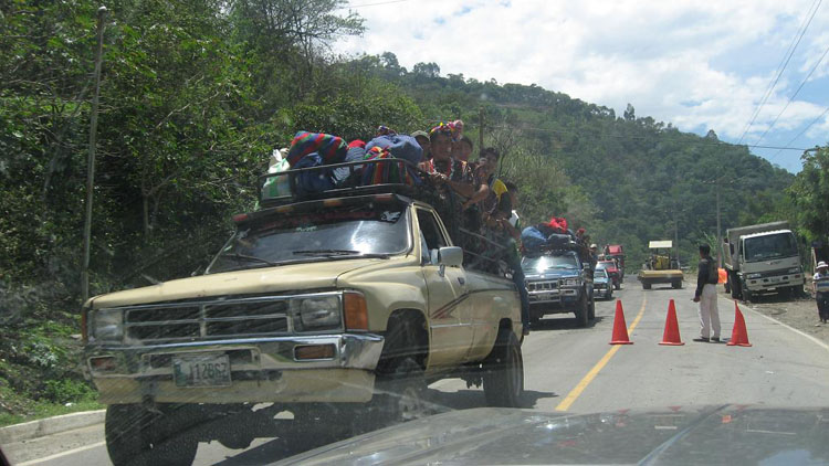 Drive to South America Photo. I had simply forgotten to upload this picture. This was taken in Guatemala, a few miles south of the Mexican border. I had never seen so many people packed up in a pickup truck before. This wouldn't be the last time I would see such a thing.