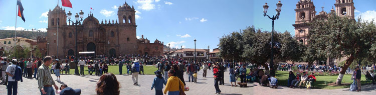 "Drive to Peru Photo. ""Plaza de Armas is built on what used to be one of two Inca heart of the old Cuzco, called Huacaypata (the place of tears) (Footprint's)."" This isn't a very well stitched picture but I wanted to include it to show Cuzco's Plaza de Armas. To the left is The Cathedral, and to the right is La Campania de Jesus Cathedral."