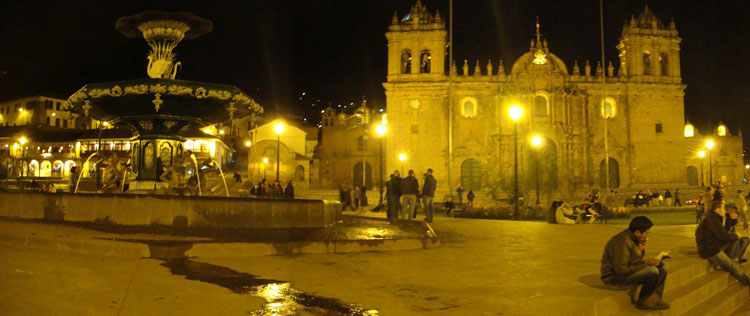 Drive to Peru Photo. Cuzco's Plaza de Armas is a sight to behold at night. I really like the ambiance of the golden fluorescent lights reflecting off the large plaza and the surrounding Cathedrals.