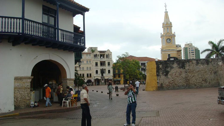 Drive to Colombia Photo. And this is where the slave market used to be, between the wall and the building on the left. It's called Plaza de los Coches.