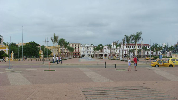 "Drive to Colombia Photo. Paseo de los Martires, ""flanked by the busts of nine patriots executed in the square on 24 February 1816 by the royalist Morillo when he retook the city."""